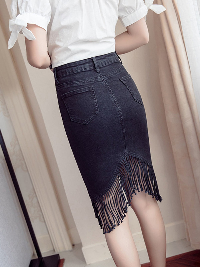 Fringed Denim Casual Plain Asymmetrical Skirt