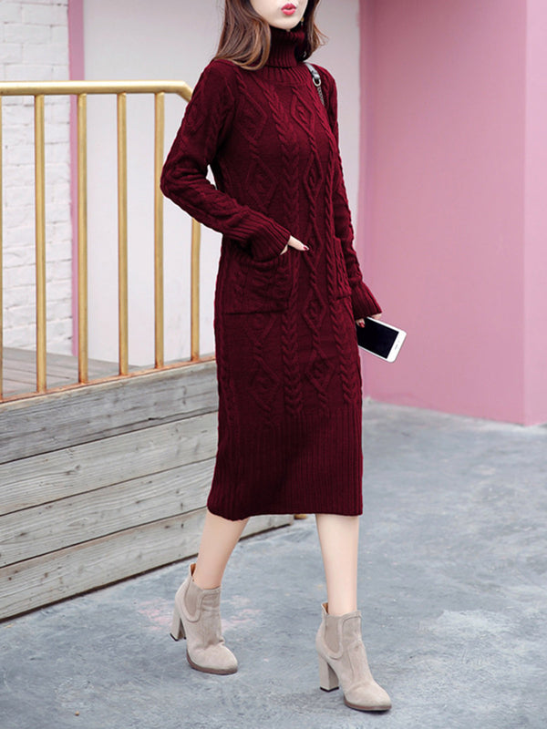 Pockets Sheath Knitted Casual Sweater Dress