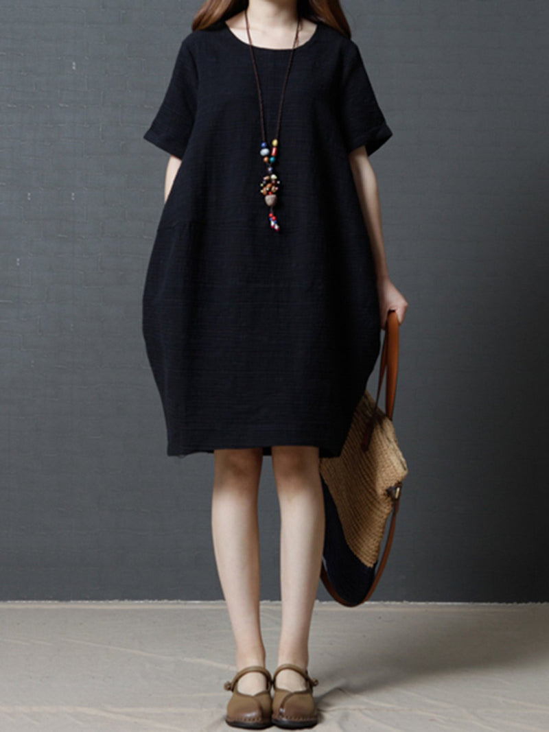 Short Sleeve Solid Cocoon Casual Dress