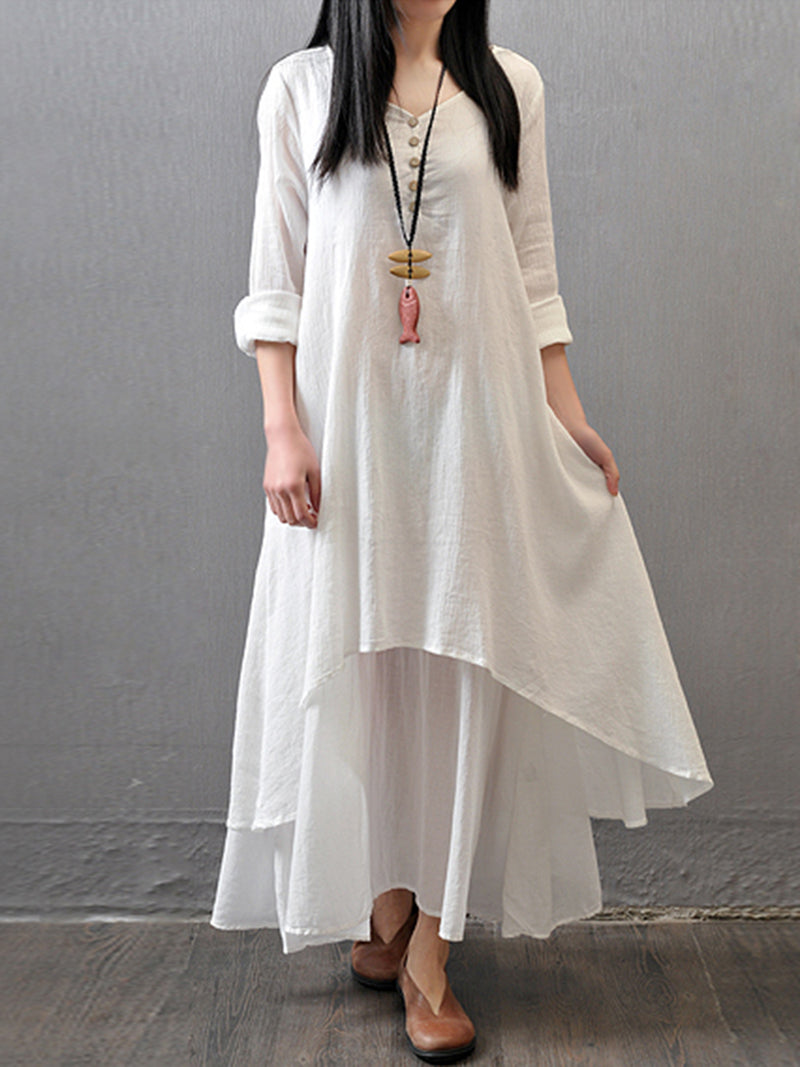 Cotton Buttoned Casual Dress