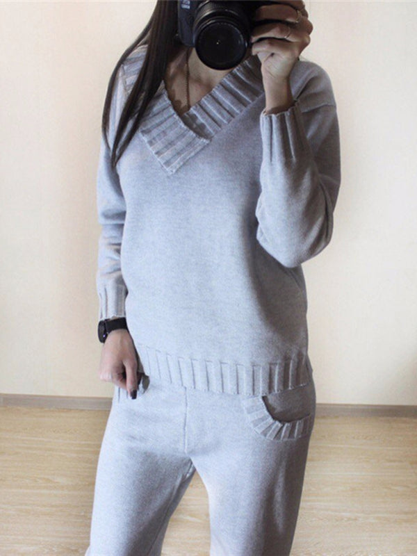 Casual V-Neck Knitted Sets