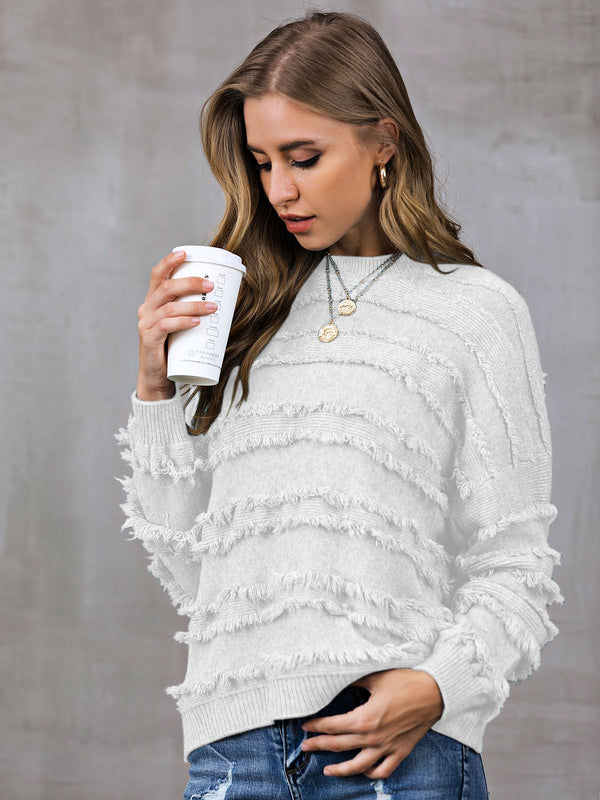 Shift Solid Fringed Casual Sweater