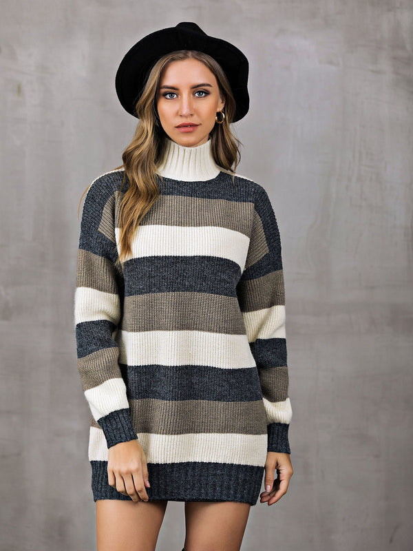 Turtleneck Dresses Daily Casual Dresses