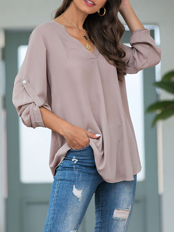 Women Khaki Casual V Neck Buttoned Shirts & Tops