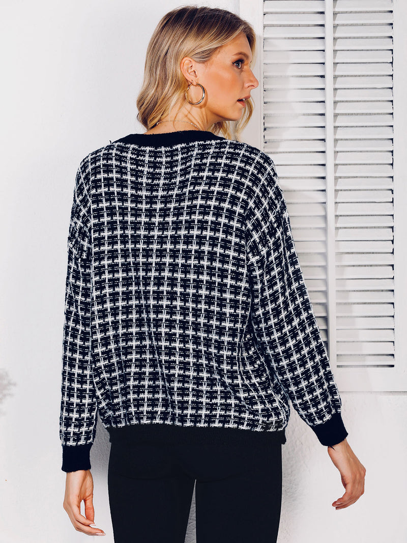 Shift Crew Neck Casual Paneled Sweater