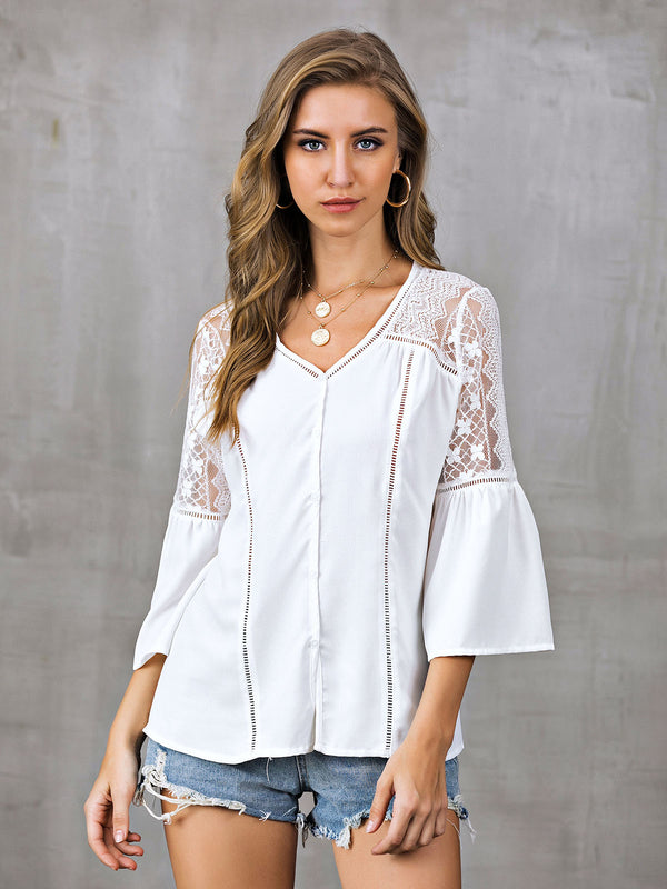 Bell Sleeve Floral Shirts & Tops
