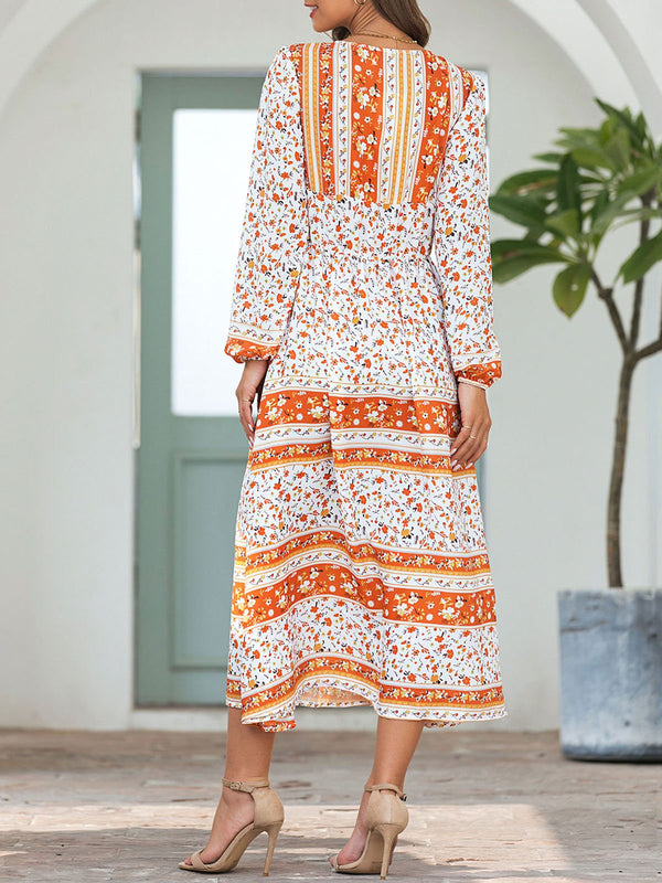 Holiday Orange Floral Boho Maxi Dresses