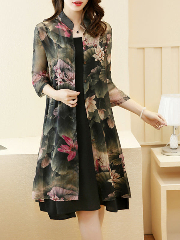 Green Stand Collar 3/4 Sleeve Floral Statement Dress