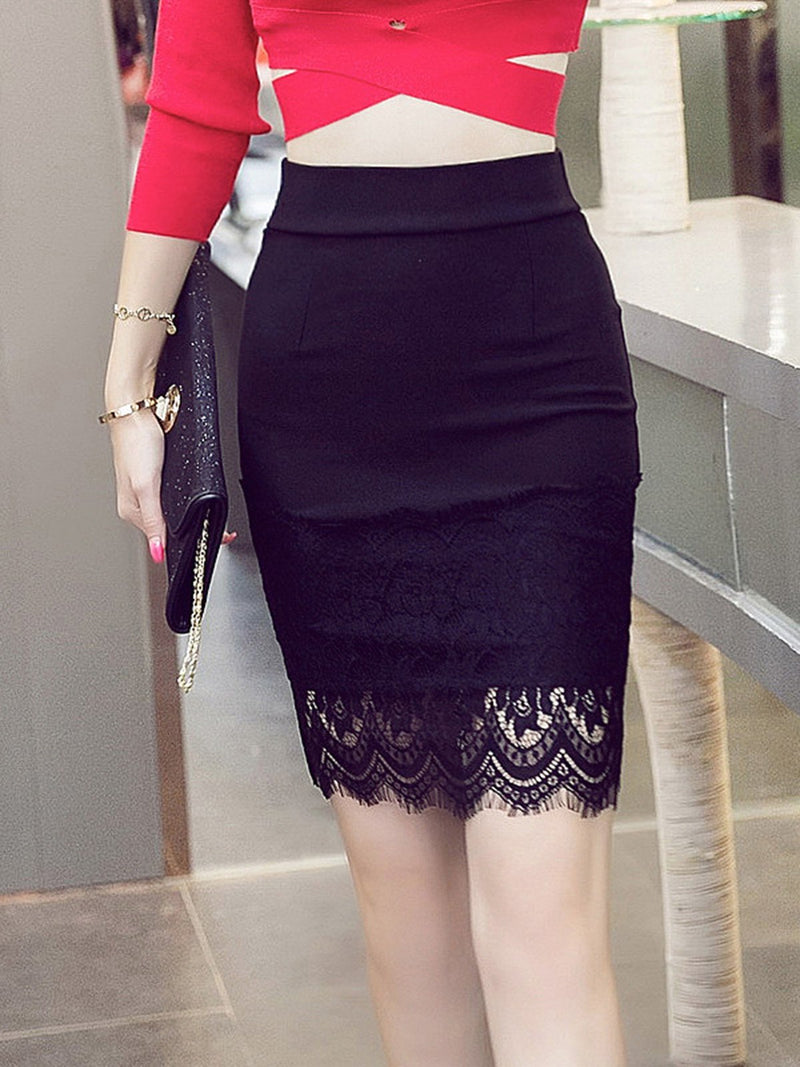 Black Sexy Bodycon Lace Paneled Plus Size Skirt