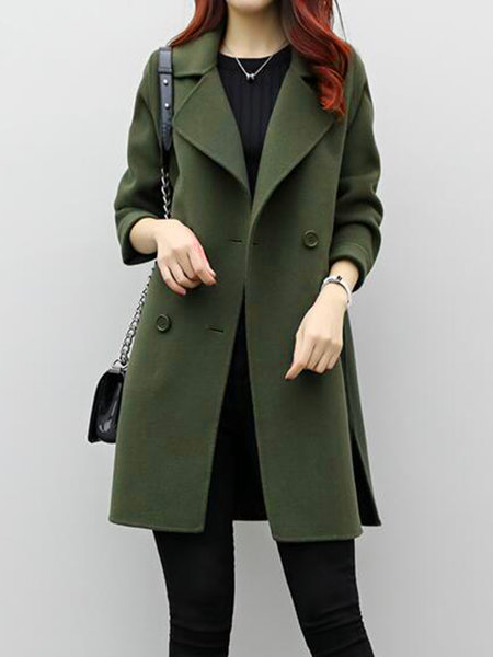 Army Green Long Sleeve Solid Coat