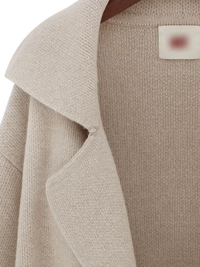Solid Long Sleeve Shawl Collar Knitwear