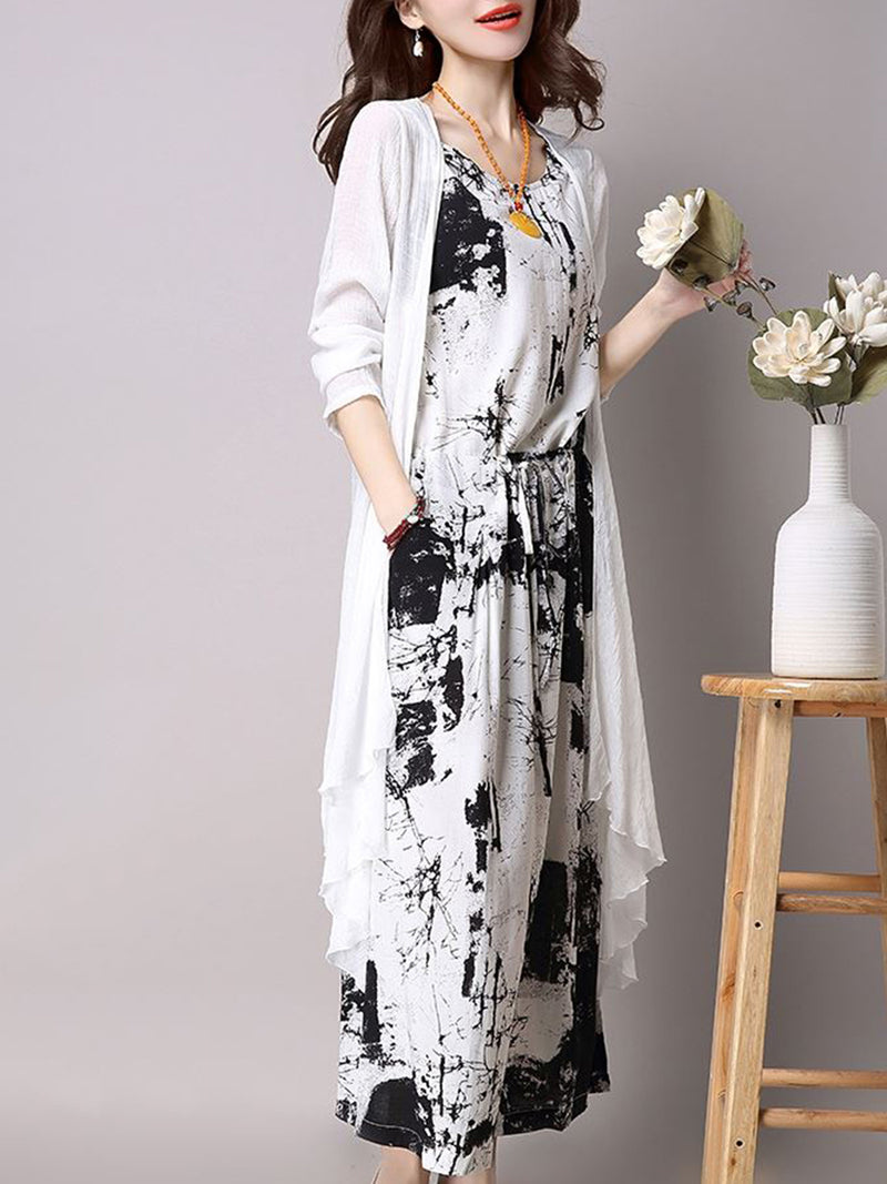 Linen Printed Casual Dress