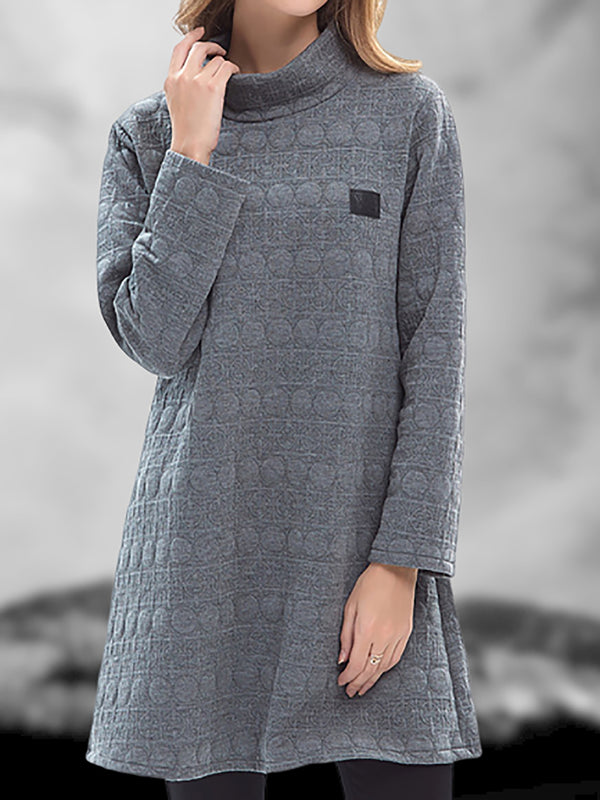 Turtleneck Women Dresses Shift Daytime Casual Solid Dresses