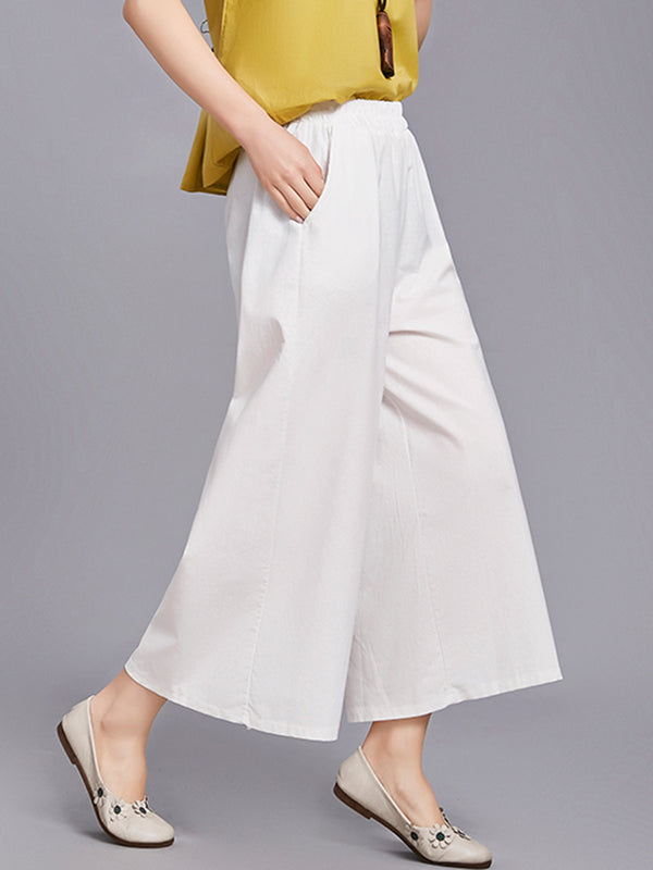 White  Casual Pockets High-waisted Loose Pants