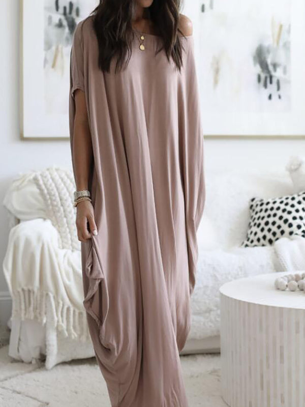 Khaki Solid Crew Neck Cotton Casual Maxi Dress