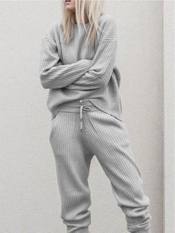 Gray Crew Neck Long Sleeve Knitted Plain Two Pieces