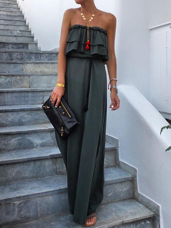 Women Green Ruffled Strapless Boho Maxi Dresses