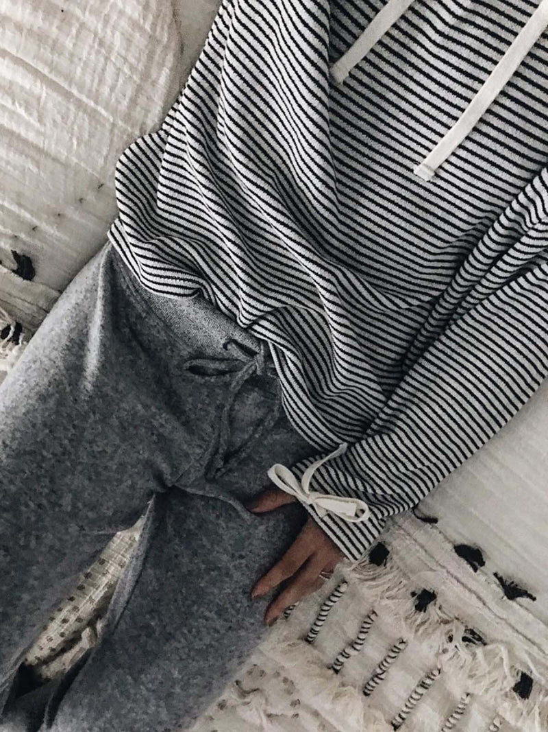 Black Long Sleeve Striped Stand Collar Tops