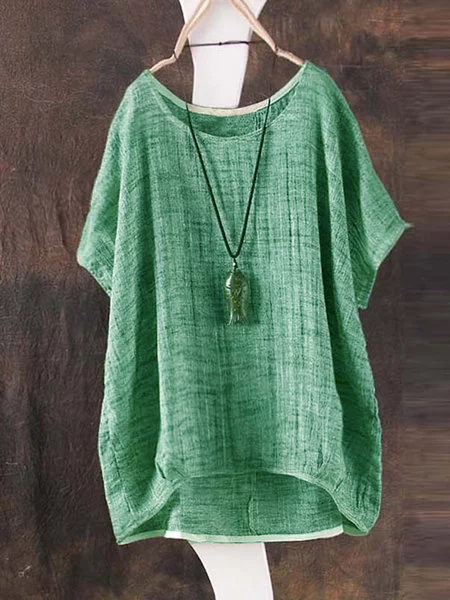 Green Crew Neck Short Sleeve Bamboo Fiber Shirt