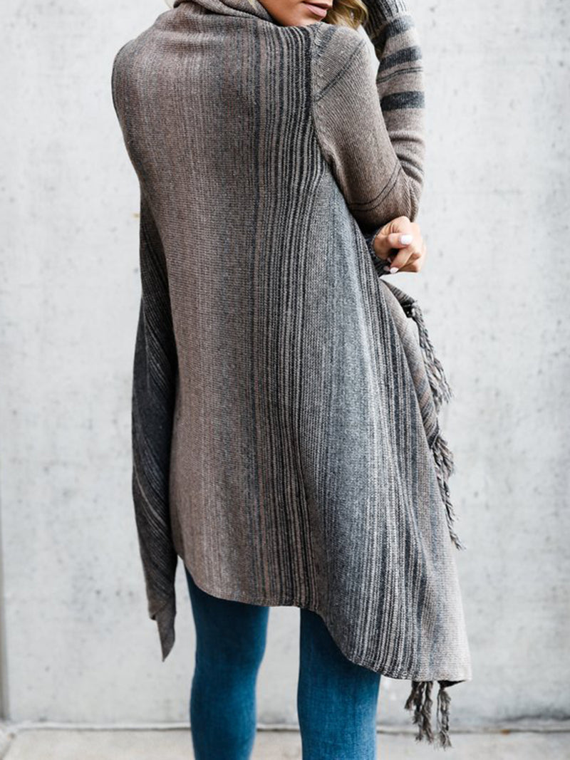 Gray Knitted Striped Casual Knitted Knitwear