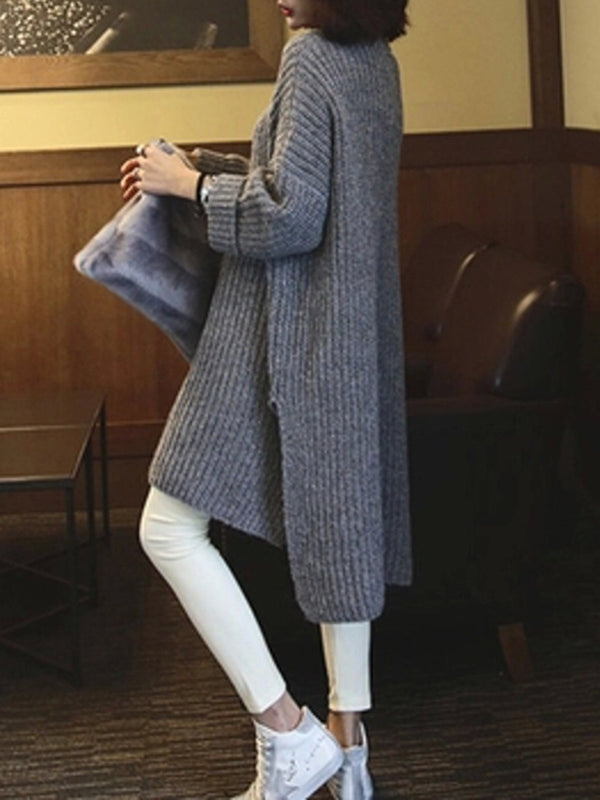Gray Slit High Low Casual Solid Knitwear