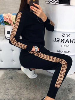 2018 Abstract Print Zipper Casual Sets