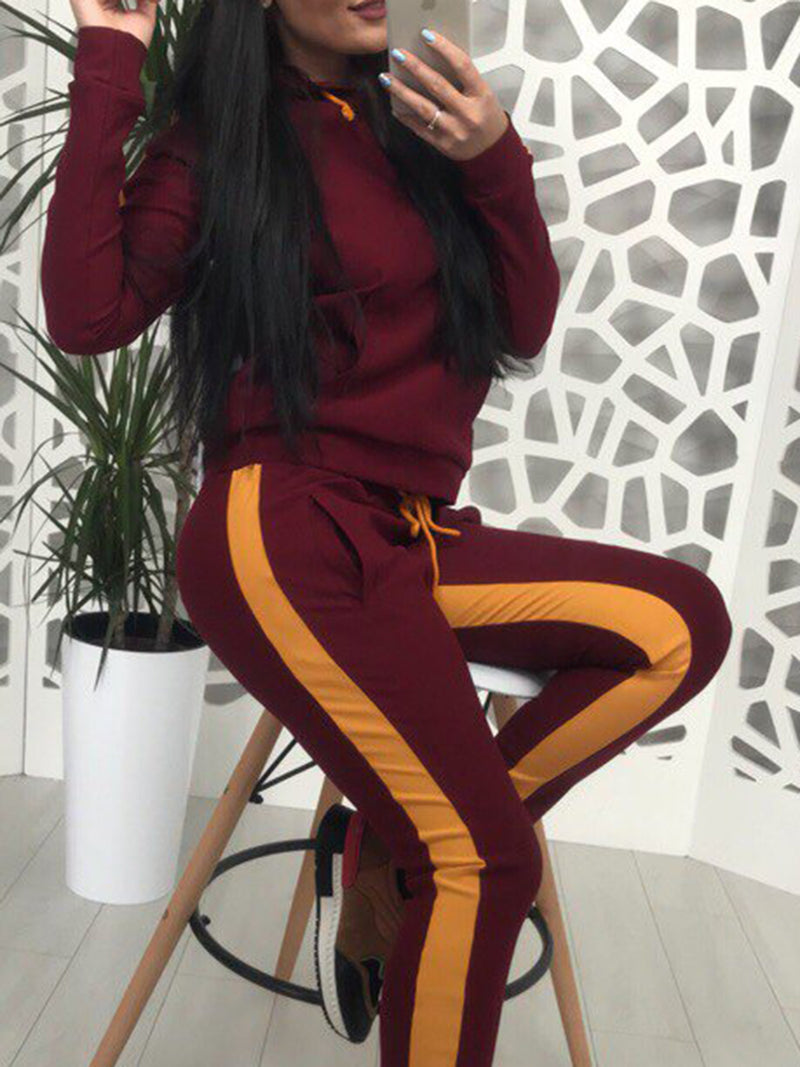 2018 Color-block Pockets Hoodie Casual Sets
