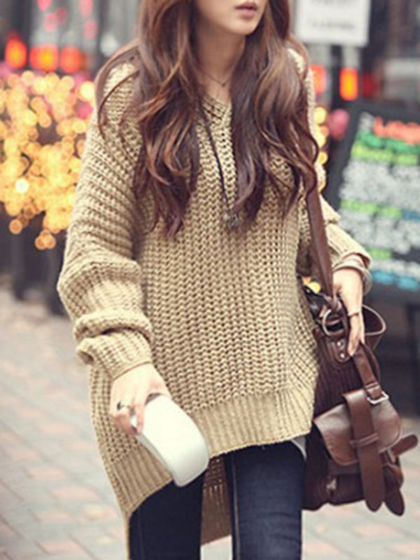 Knitted Batwing Solid Casual Knitwear