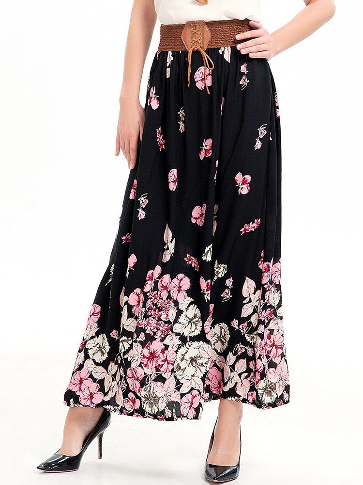 Pleated Floral Printed Resort Skirt
