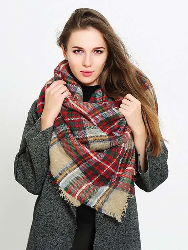 Black Checkered/Plaid Casual Scarf
