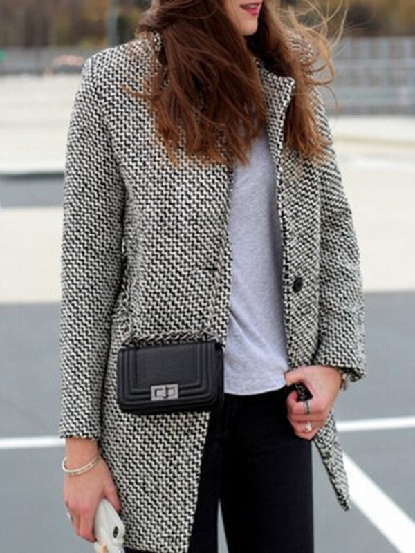 Gray Cotton Casual Lapel Houndstooth Outerwear