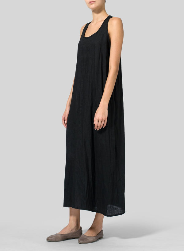 Solid Basic A-Line Sleeveless Maxi Dress