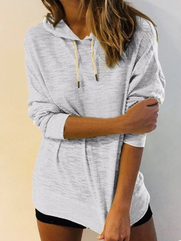 Casual Plain Drawstring Long Sleeve Plus Size Hoodie