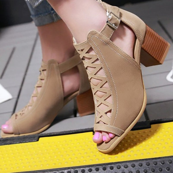 Women Chunky Heel Sandals Casual Comfort Plus Size Shoes