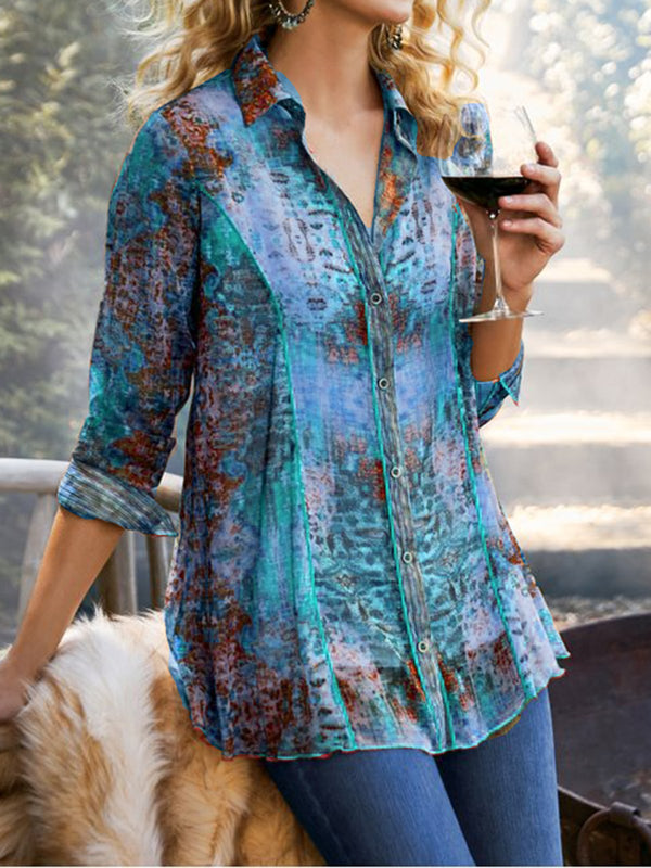 Casual Chiffon Floral-Print V Neck Shirts & Tops