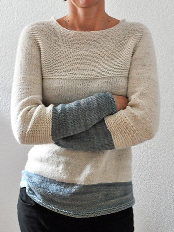 Beige Long Sleeve Wool Blend Sweater