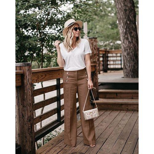 Pants - Fashion High Waist Linen Wide Leg Pants