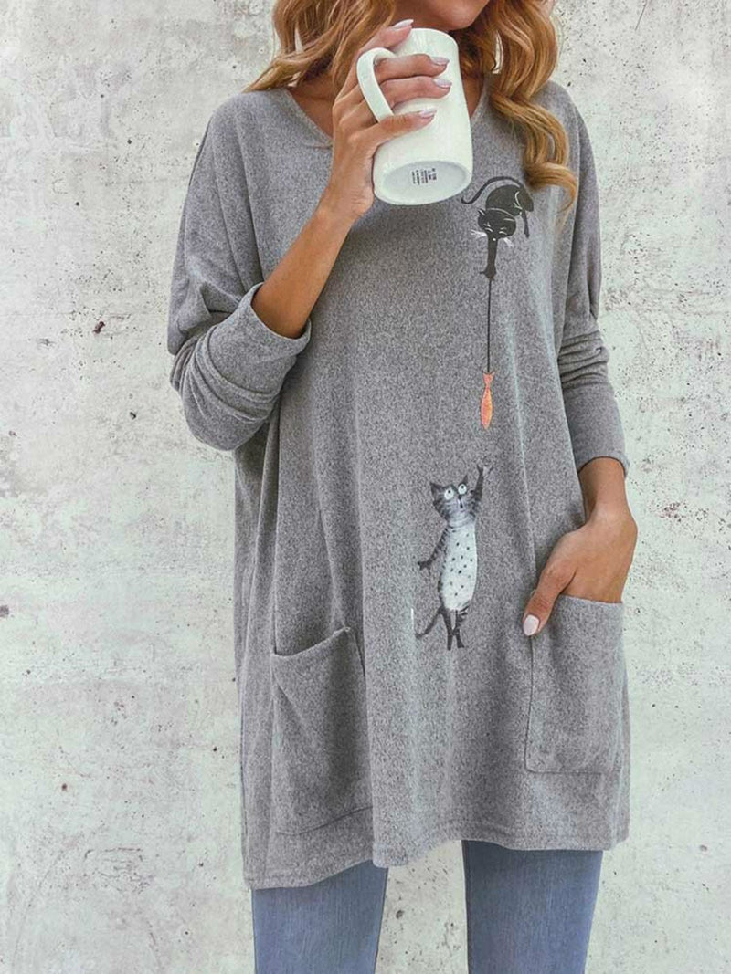 Gray Cartoon Casual Long Sleeve Shirts & Tops