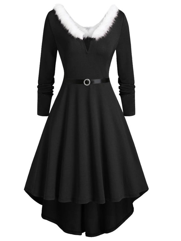 Women Sexy Plain A-Line Long Sleeve Dresses