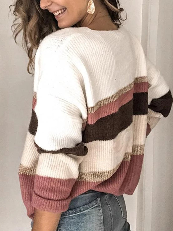 Casual Striped V-neck Long Sleeve Sweatshirt