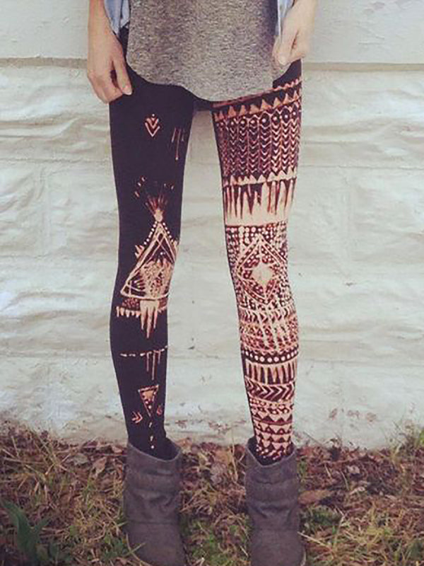 Tribal Printed Retro Leggings Stretchy Plus Size Pants
