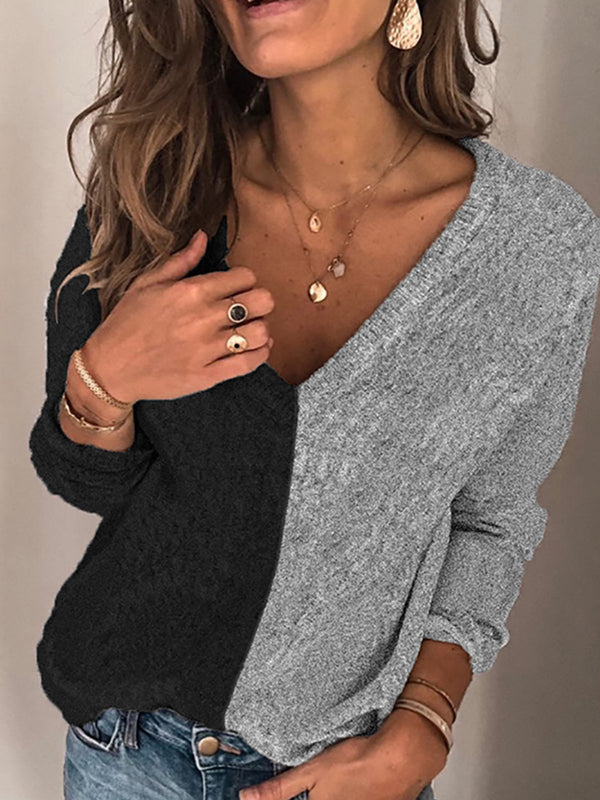 Gray Casual Color-Block Sweater