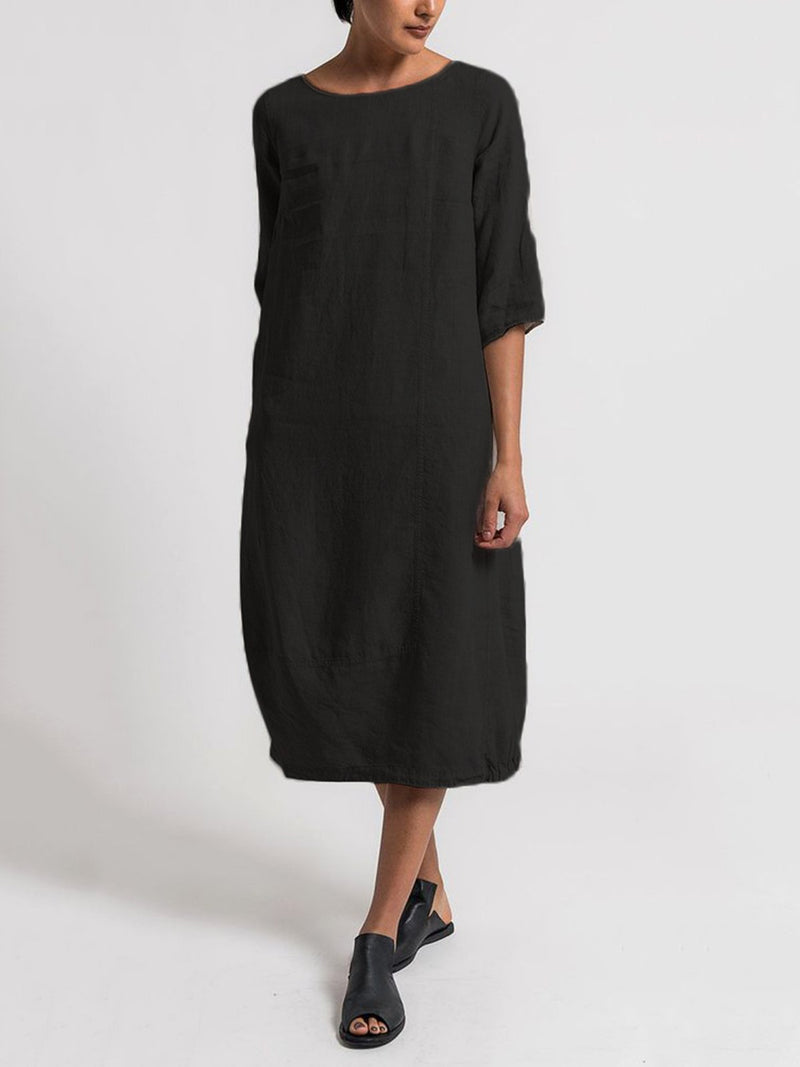 Solid 3/4 Sleeve Crew Neck Casual Dress