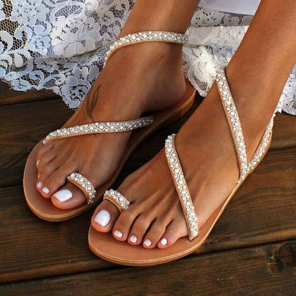 Women Boho Handmade Pearl Beach Sandals  Bridal Shoes