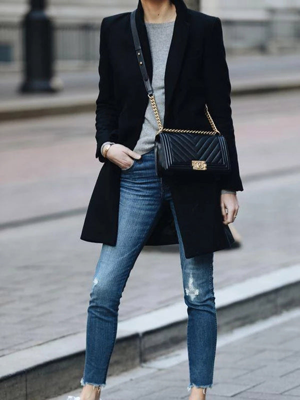Black Casual Outerwear