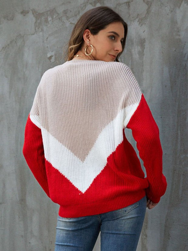 Red Long Sleeve Crew Neck Sweater