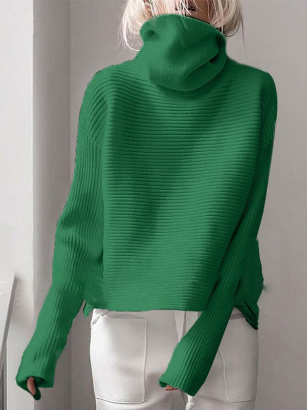 Ribbed Turtleneck Casual Sweater