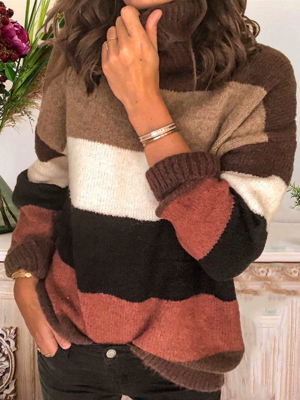 Color-Block Casual Long Sleeve Stand Collar Sweater