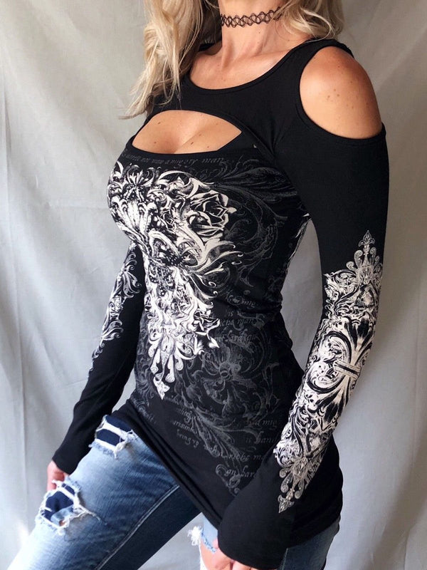 Black Printed Long Sleeve Knitted Shirts & Tops