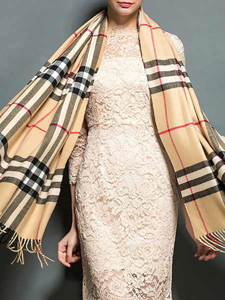 Khaki Checkered/Plaid Elegant Cashmere Scarf